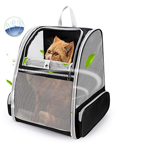 Lollimeow Pet Carrier Backpack for Dogs and Cats,Puppies,Fully Ventilated Mesh,Airline Approved,Designed for Travel, Hiking, Walking & Outdoor Use(Black)