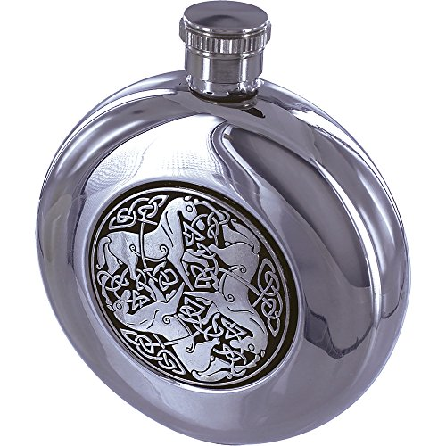 Maxam 5oz Round Stainless Steel Flask with Celtic Horse Medallion