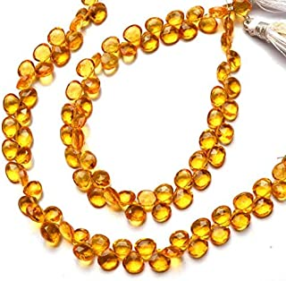GemAbyss Beads Gemstone 1 Strand Golden Citrine Color Hydro Quartz Faceted 6MM Approx. Heart Shape Briolettes Beads 7 Inch Long Long Code-MVG-4483
