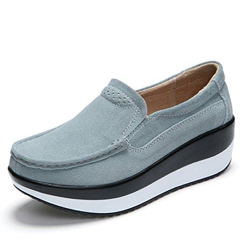 Gracosy Mocasines de Mujer Cuña de Cuero Plataforma Informal Zapatos de Gamuza Casuales Zapatos Cómodo Mocasines Zapatos de conducción Zapatos Planos de Pierna Delgada