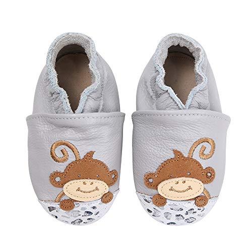 koshine Weiches Leder Krabbelschuhe Baby Schuhe Kinder Lauflernschuhe Hausschuhe 0-3 Jahre (6-12 Monate, AFFE)