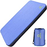"QOMOTOP Ultra Comfortable Side Sleep Friendly Double Self-Inflating Camping Mattress, 80""×52"" Sleeping Pad, 4 Inches Thick PU Foam, Portable Roll-Up Floor Guest Bed, TPU Material - Blue"