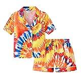 Morbuy Pijamas de Mangas Cortas para Niños Dos Piezas, Verano de Suave Niño Niña Conjunto de Pijamas con Estampado Tie-Dye, Tapeta con Botones, Tops y Pantalones Cortos (Amarillo,130cm)