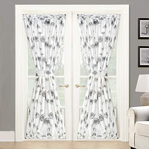 DriftAway Dandelion Floral Botanical Sidelight Door Curtain 2 Layers Thermal Insulated with Bonus Adjustable Tieback 52 Inch by 72 Inch Plus 15 Inch Header Gray