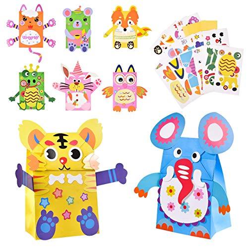 Pajaver 8 piezas Kit de manualidades de papel para hacer marionetas, mano para niños y proyectos de manualidades, divertidas marionetas para fiestas de cumpleaños, regalos para niños pequeños