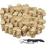 BELIOF 100 Pcs Bouchons de Liège à Vin avec 1 pcs Décapsuleur Bouchon sans Chimique pour Conservation Alcool Accessoire pour Vinification de Maison et Cave Bouchon Naturelle