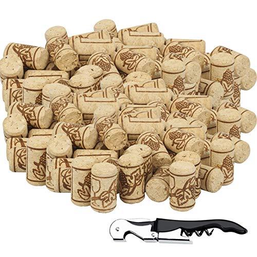 BELIOF 100 PCS Tappi in Sughero Tappo di Legno per Vino Sughero Naturale Bottiglia con Apribottiglie Cavatappi Tappi Vino per Produzione di Vino Artigianale