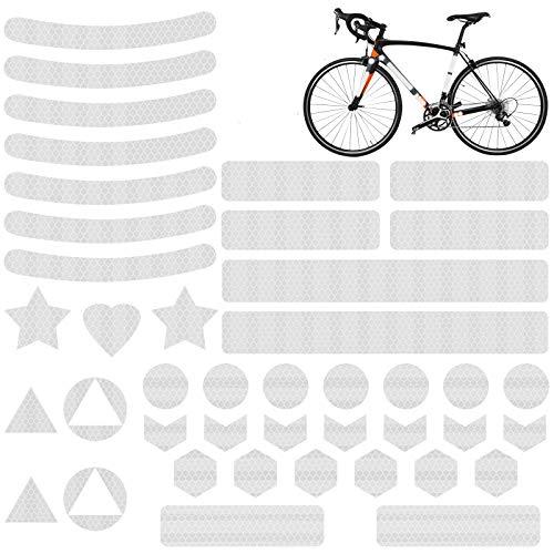 EKKONG Reflektoren Aufkleber Sticker (41 Stück),Fahrrad Reflektoren,Reflektorband selbstklebend,Reflexfolie Set zur Sicherungs-Markierung von Kinderwagen, Fahrrädern, Helmen,Rucksack (Weißes Dreieck)