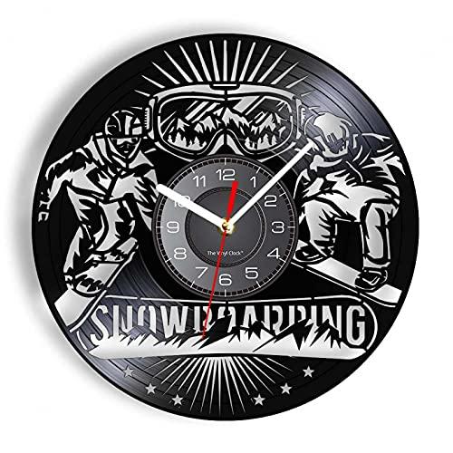 KDBWYC Snowboard Freestyle Ski Álbum de Vinilo Reloj de Pared con Registro Esquiador Deportes Decoración del hogar Reloj de decoración de Frontera sin LED