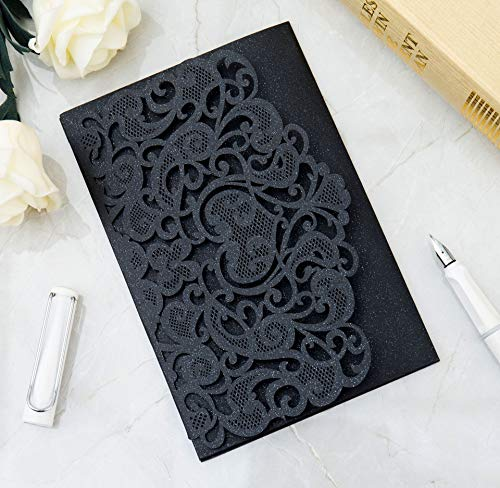 DH-LINK 10/100PCS Wedding Invitation Cards Laser Cut Floral Design Invites Pocket for Bridal Showers, Engagement Parties, Invitation Covers