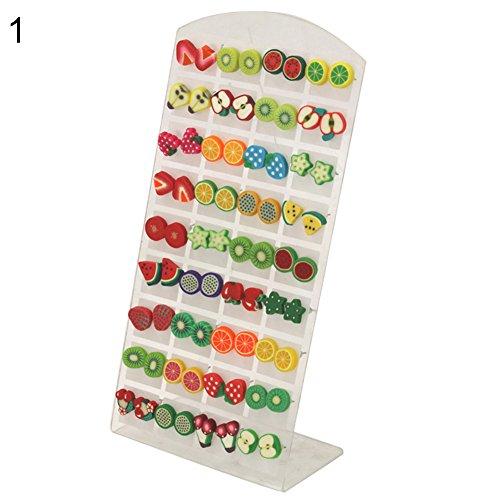 Pu ran, 36paia di orecchini in argilla polimerica colorata con perno, fantasie graziose a tema animali, fiori, frutti, idea regalo, 53 (16.9), colore: Fruit, cod. 6N21150914IVUVX5434