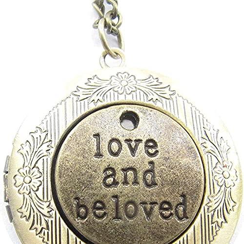 chaosong shop Medallón de latón antiguo con diseño de amor y amado, estilo vintage