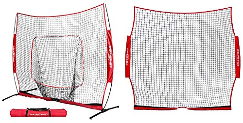 PowerNet 8x8 PRO Hitting Net and Barrier Screen Combo for Baseball Softball   Portable Hitting and Protection System