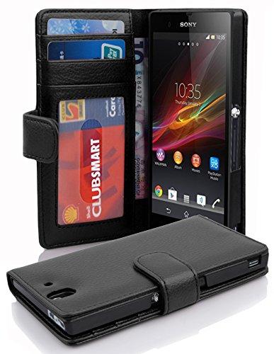 Cadorabo Hülle für Sony Xperia Z - Hülle in Oxid SCHWARZ – Handyhülle mit 3 Kartenfächern - Case Cover Schutzhülle Etui Tasche Book Klapp Style