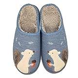 Women's Cute Animal Slippers Warm Memory Foam Cotton Home Slippers Soft Fleece Plush House Slippers Indoor Outdoor (8-9.5 Women/7.5-9 Men, Navy Grey Squirrel)