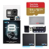 GoPro Hero8 Black Action Camera with Accessory Bundle - Sandisk 64gb U3 Memory Card, 2 X GoPro USA Batteries and Cleaning Cloth