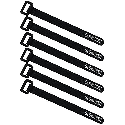 GLS Audio 10' Hook and Loop Re-Usable Cable Tie Wraps with Plastic Buckle Tie End for Extra Durability - 10-Inch Reusable Fastening wrap Strap for Cables & Cords - 6 Pack