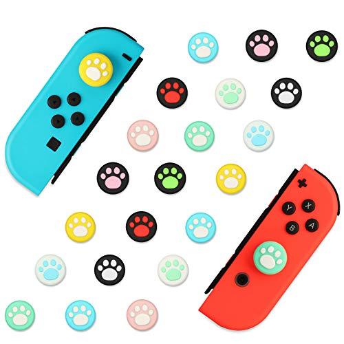 EEEKit 40 Piezas 10 Colores Cat Claw Design Joystick Cover Sets, Tapas de Agarre para el Pulgar compatibles con Nintendo Switch Lite, Soft Silicone Joystick Cover para Joy-con Controller