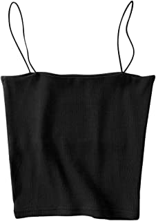 Women's Ribbed Camisole Skinny Strap Elastic Sexy Basic Cropped Cami Top