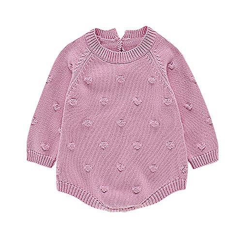 VICKY-HOHO Günstige Kinderkleidung Sommer, 3-6 Monate Neugeborenes Baby Mädchen Strick Strampler Bodysuit Häkelkleidung Outfits Unisex Chic Kindertag Geschenk (Pink)