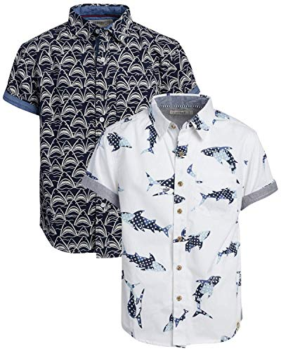 Free Planet Boys' Shirt - Casual Short Sleeve Button Down Collared Shirt (2 Pack), Size 14/16, White/Navy Shark