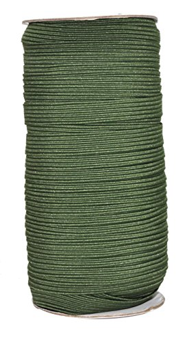 Mandala Crafts Flat Elastic Band, Braided Stretch Strap Cord Roll for Sewing and Crafting; 3/8 inch 10mm 50 Yards Olive Green