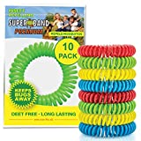 SUPERBAND Premium Mosquito Repellent Bracelet (10 Pack) - Natural Insect & Bug Repellent Band - DEET...