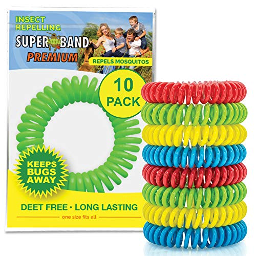 SUPERBAND Premium Mosquito Repellent Bracelet (10 Pack) - For Kids & Adults - Natural Insect & Bug Repellent Band - DEET Free & Waterproof - Individually Wrapped - One Size Fits All