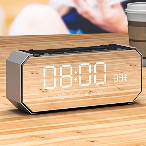 FPRW Led digitale wekker, pratende Bluetooth multifunctionele elektronische nachtkastje, audio desktop niet tikken klokken, grijs