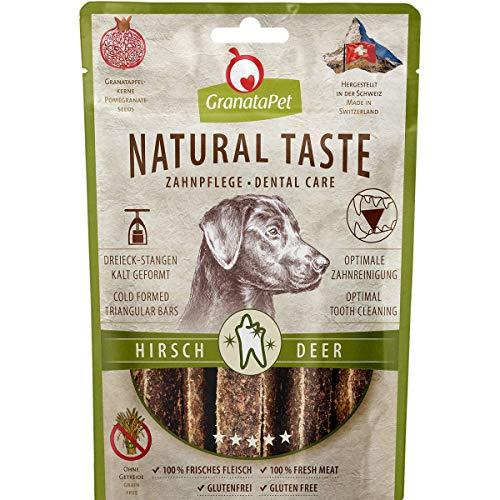 GranataPet Natural Taste Edler Snack Hirsch Zahnpflege, Hundeleckerli ohne Getreide & ohne Zuckerzusätze, Belohnung für zwischendurch, schmackhafter Hundesnack, 70 g