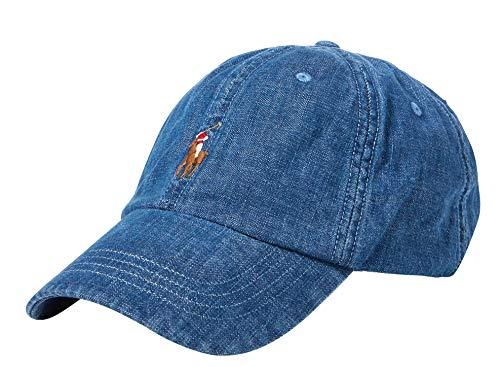 Ralph Lauren - Gorro deportivo con logo de pony para hombre azul marino (2003)/Denim/blanco. Talla única