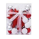 Zinsale 30Pcs 3cm/1.18' Mini Adornos para árboles de Bolas de navidad de Navidad de plástico con Estrella de Punta de Árbol Decoraciones para árboles Decoración para festivales (Rojo + Blanco + Plata)