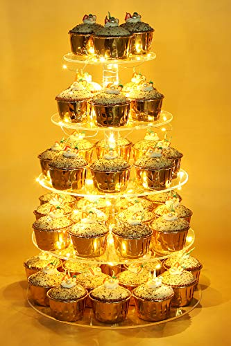 Vdomus Pastry Stand 5 Tier Acrylic Cupcake Display Stand with LED String Lights Dessert Tree Tower for Birthday/Wedding Party (Round)