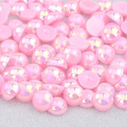 2 4 6 8 10 12 14mm Demi-Ronde Imitation Perle Noir AB Strass Perle Colle Sur Nail Art Décoration Dos Plat Perle Autocollant, Rose AB, 12mm 50 Pcs