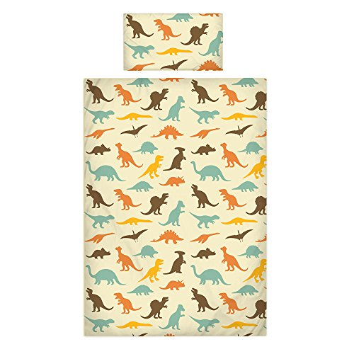 Linge de lit fantaisie de luxe pour enfants 100% coton 200 fils Draps et housses de couette disponibles, Coton, dinosaure, Junior 120x150cm + 1 Pillowcase 42x60cm