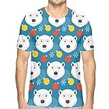 Camiseta de algodón de Manga Corta para Hombre, Oso Polar y Bola de Cristal M