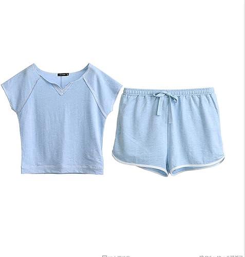 Pyjamas nouveau été Hommes Les Les dames courte Manches Courtes Coton Décontracté Couples Service à la Maison sous-VêteHommests courtes ZLR