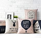 Meet National Decorative Hand Made Jute Throw Pillow Printed Cushion Covers - (16 X 16 Inches) - Set of 5