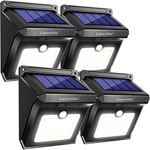 Luposwiten Focos Solares, 28LED Luz Solar Exterior Lámparas con Sensor de Movimiento Iluminacion Exterior para Jardín, Patio, Balcón, Garaje, Terraza, Caminos, Acera, Escalera(4 Piezas)
