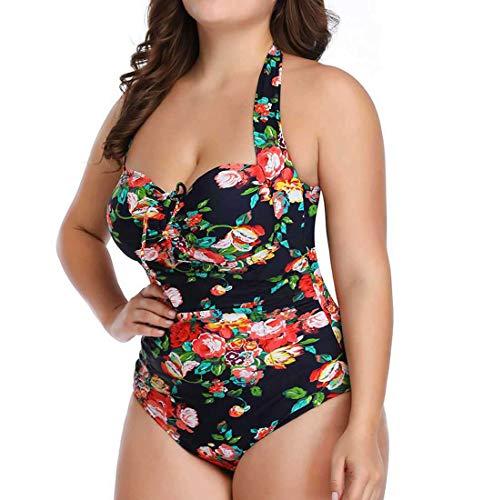 SAMGU Femme Sexy Grande Taille Floral Print Maillots Une pièce Push Up Bikini Plage 5XL