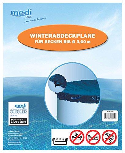 Medipool Winterabdeckplane für Rundbecken Ø 3,50m oder Ø 3,60m, mit Seilzug und Spannschloss, Art. Nr.: 22510