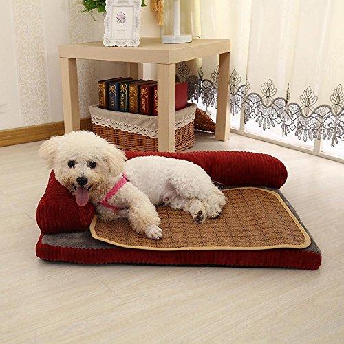 Lozse Haustierbett Waschbare Kennel Vier Jahreszeiten Hund Hund Schlafsofa mat Cord für Hunde Katzen Kleintiere