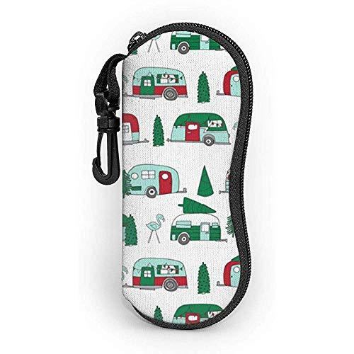 WCHAO Brillenetui Weihnachten Vintage Caravan mit Karabiner Ultra Light Portable Zipper Sonnenbrille Soft Case