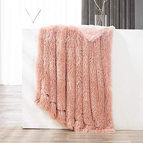GONAAP Faux Fur Throw Blanket Decorative Super Soft Fuzzy Shaggy Luxurious Cozy Plush Fluffy Long Hair Comfy Microfiber Fleece Reversible for Coach Bed Chair Sofa Pink 60''80''