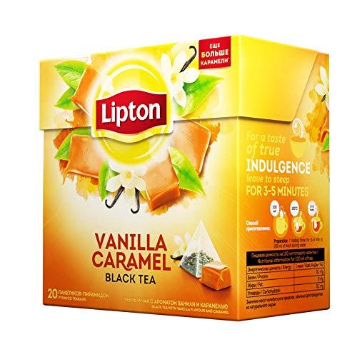 Lipton - Vanilla Caramel - 20 count box (Pack 8 boxes = 160 count) Pyramid tea bags