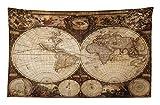 ABAKUHAUS Mappa del Mondo Tappeto da Parete e Copriletto, Historic Old Atlas, Colori Chiari Non sbiadiscono, 230 x 140 cm, Multicolore