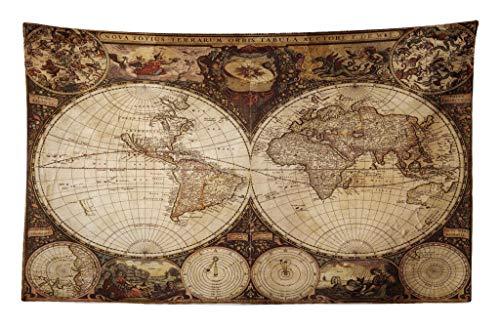 ABAKUHAUS Carte du Monde Tapisserie, Atlas Historique du Vieux, pour la Chambre, 230 x 140 cm, Multicolore