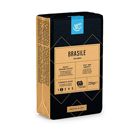 "Marca Amazon - Happy Belly Café molido ""BRASILE"" (4 x 250g)"