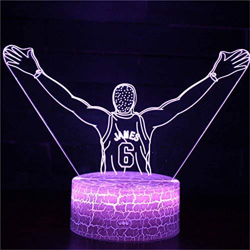LED-3D-Nachtlicht, Kinder-Nachtlicht, 16 Farben, automatischer Wechsel, Touch-Schalter, Schreibtischdekoration, Lampen, Geburtstagsgeschenk, mit Fernbedienung, Basketball Nr. 6