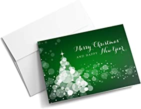 Pristine Green - Christmas Cards | 25 Signature Greeting Cards with Your Custom Message and Envelopes | Printed in the USA